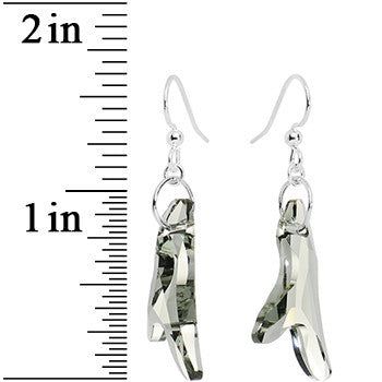 Smoky Grey Crystal Icicle Dangle Earrings Created with Swarovski Crystals