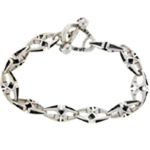 THIRD RAIL 9 White Metal XXX Linked BRACELET 10 links