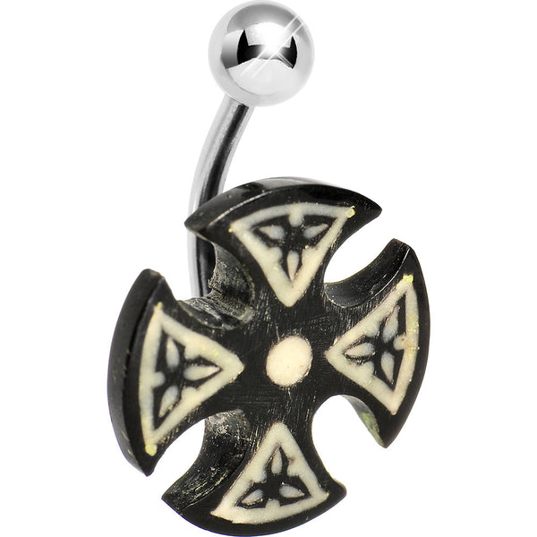 Black and White Celtic Iron Cross Celtic Belly Ring