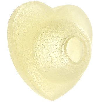 Light Yellow Silicone Heart Glow in the Dark Barbell Cap