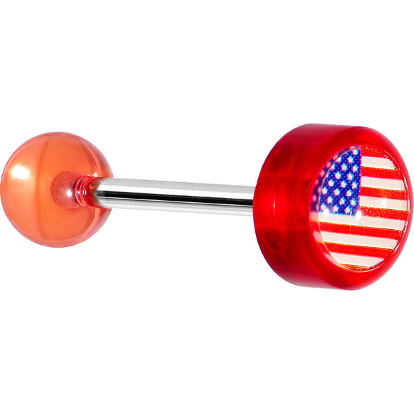 14 Gauge Red Acrylic American Flag Straight Barbell Tongue Ring