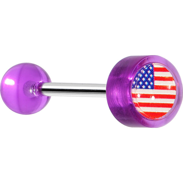 14 Gauge Purple Acrylic American Flag Straight Barbell Tongue Ring