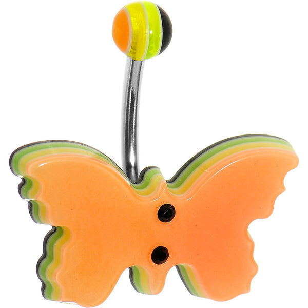 Orange Acrylic Multi Layered Floating Butterfly Belly Ring