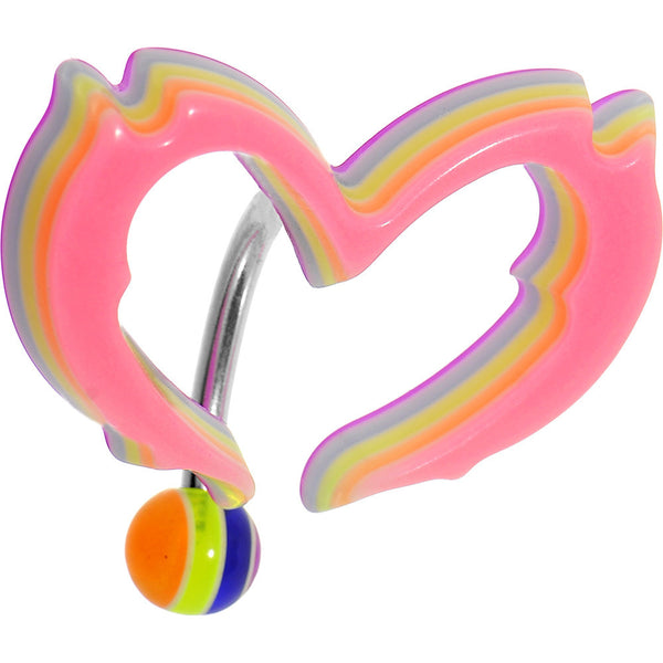 Light Pink Acrylic Multi Layered Tribal Heart Top Mount Belly Ring