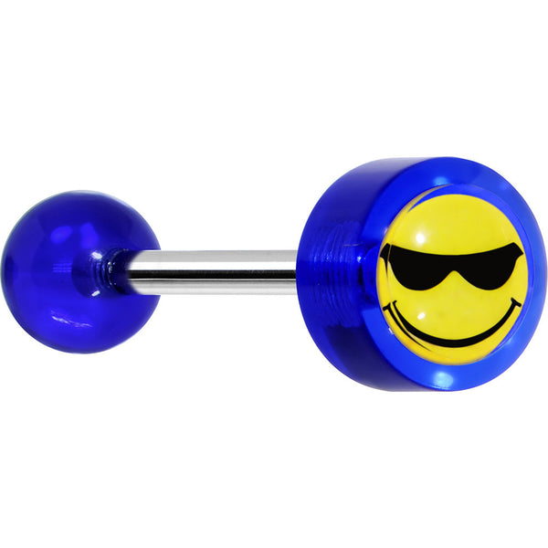 "14 Gauge 5/8"" Blue Acrylic Smiley Sunglasses Tongue Ring"