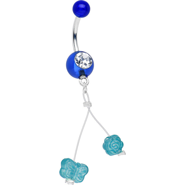 Clear Gem Blue Acrylic Aqua Flower and Butterfly Dangle Belly Ring