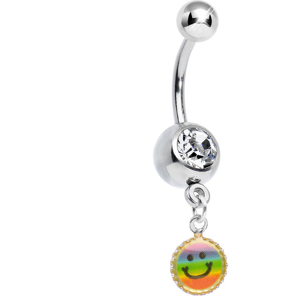 Clear Gem Rainbow Smiley Face Charm Dangle Belly Ring