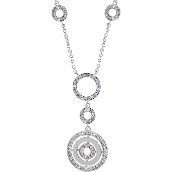 18 Cubic Zirconia CIRCLE PENDANT Sterling Silver Necklace