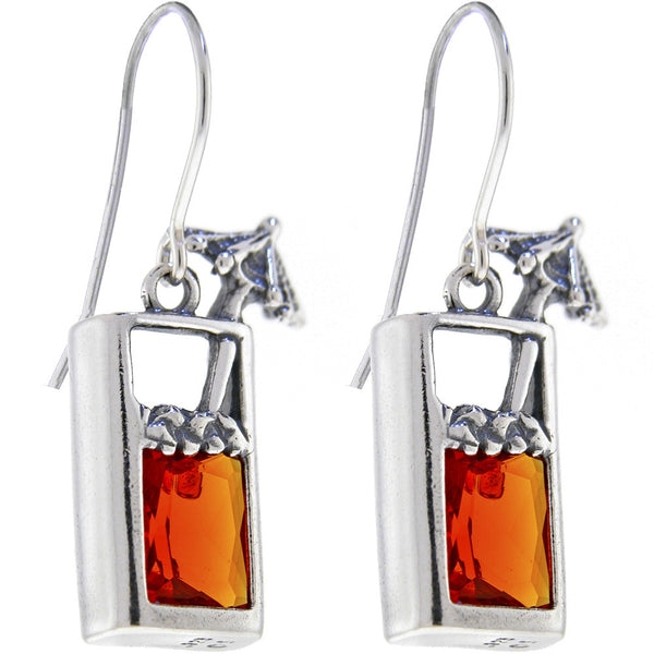 Sterling Silver TROPICAL DRINK Cubic Zirconia Earrings