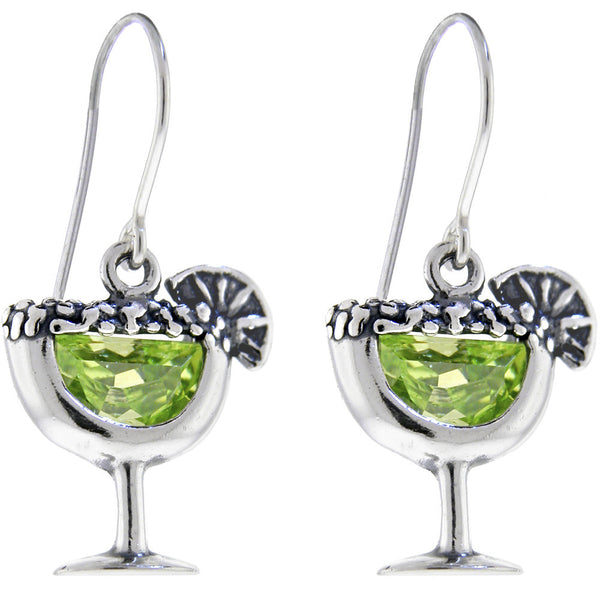 Sterling Silver YELLOW-GREEN MARTINI Cubic Zirconia Earrings
