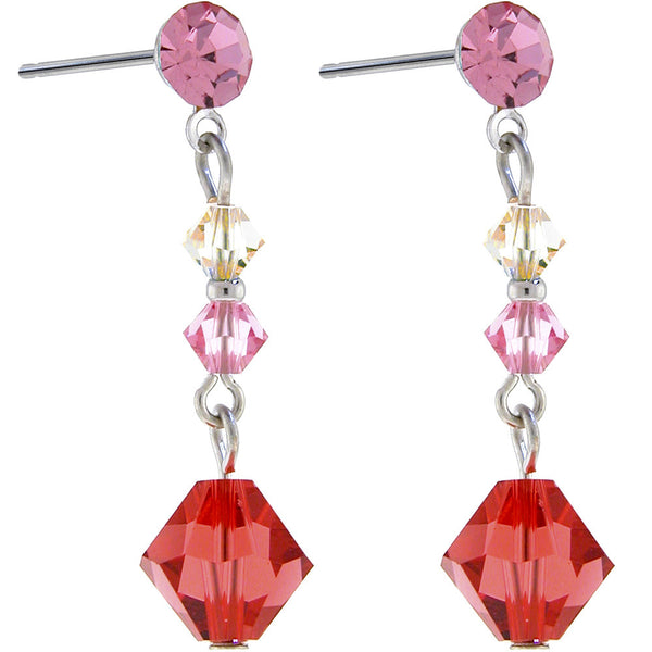 Padparadscha Austrian CRYSTAL ERUDITE Dangle Earrings