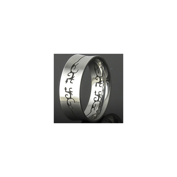 316L Stainless Steel Ring TRIBAL GECKO