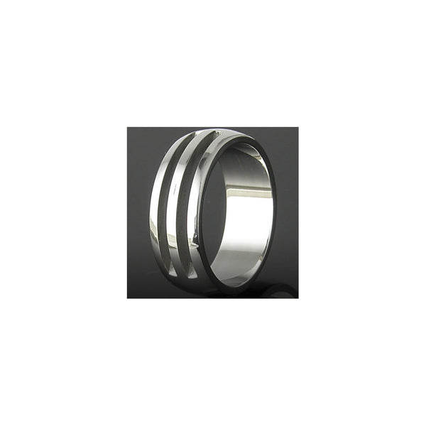316L Stainless Steel Ring HOLLOW RIBBED Design No1