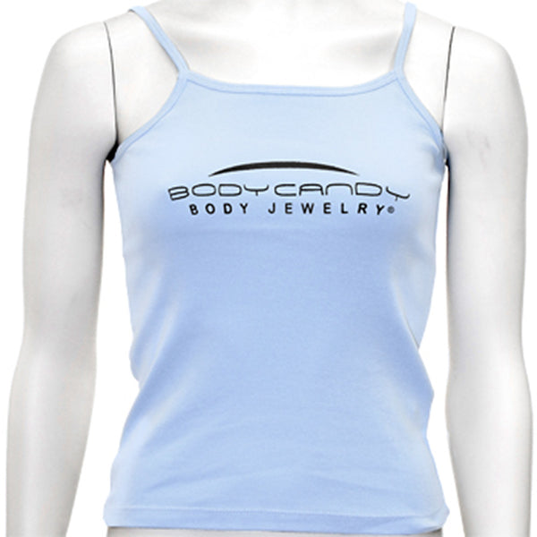 Ladies Baby Blue Spaghetti Strap Body Candy Body Jewelry Tank Top
