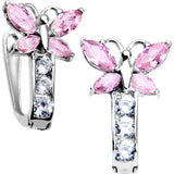 14kt White Gold Butterfly October Birthstone Leverback Earrings