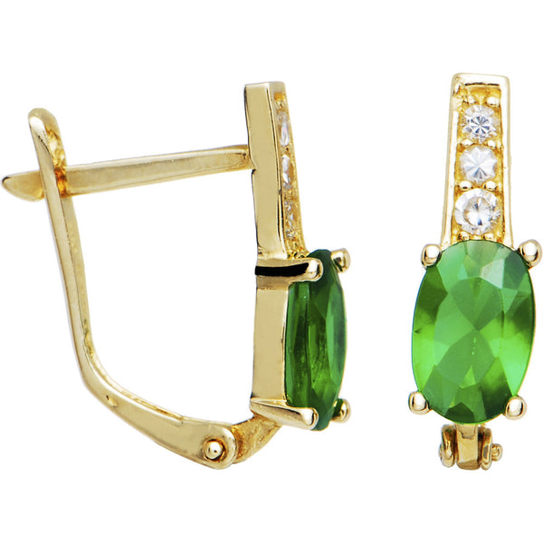 14kt Yellow Gold CZ May Birthstone Leverback Earrings