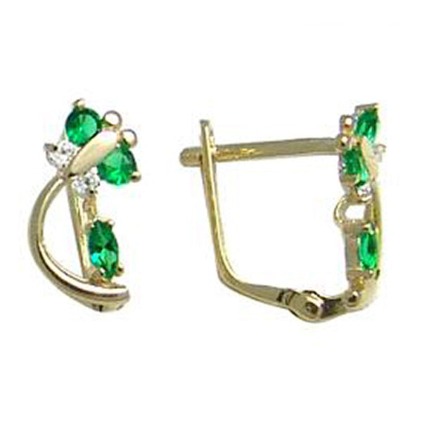 14kt Yellow Gold Emerald Green Cubic Zirconia Dragonfly Earrings