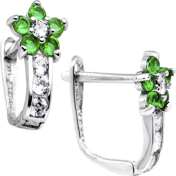14kt White Gold Emerald Green Cubic Zirconia Flower Earrings