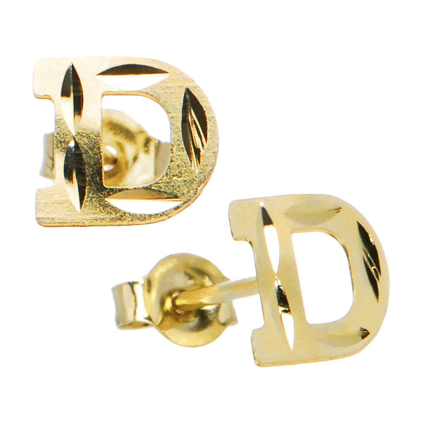 14kt Yellow Gold Initial D Stud Earrings
