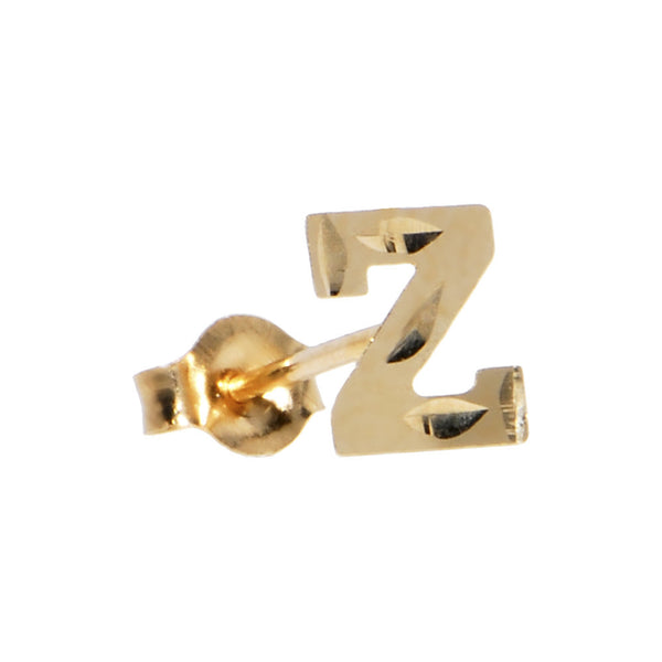 14kt Yellow Gold Initial Z Stud Earrings