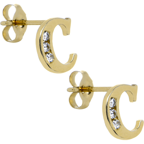 14kt Yellow Gold CZ Initial C Stud Earrings
