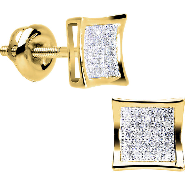 Solid 14K Yellow Gold .10 Carat Micro Pav+ᆲ Genuine Diamond Earrings