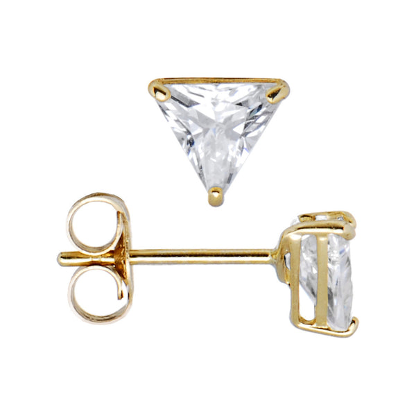 14kt Yellow Gold .23ct Basket Set Triangle CZ Stud Earrings
