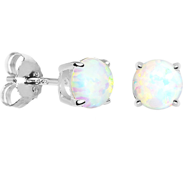 6mm Round Sterling Silver Synthetic Opal Stud Earrings