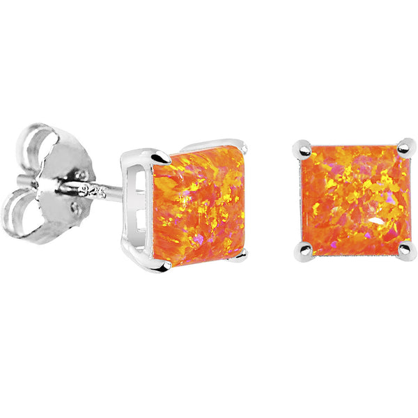 Synthetic Crystal Square Stud Earrings Sterling Silver