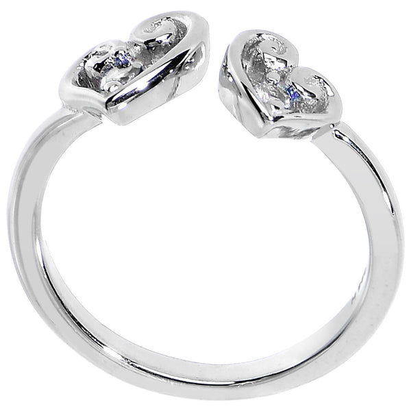 925 Sterling Silver CZ Dual Heart Toe Ring