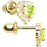 14kt Yellow Gold Heart CZ August Birthstone Youth Screwback Earrings