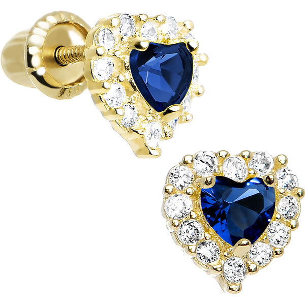 14kt Yellow Gold Heart CZ September Birthstone Youth Screwback Earrings