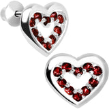 .925 Sterling Silver January CZ Open Heart Youth Screwback Earrings