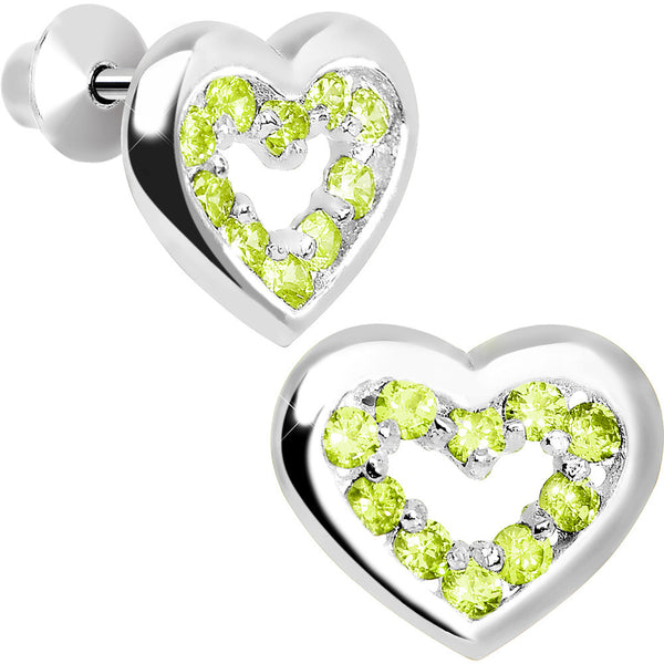 .925 Sterling Silver August CZ Open Heart Youth Screwback Earrings