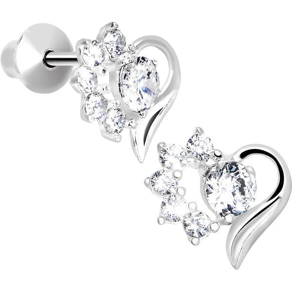 .925 Sterling Silver Clear CZ Flower Heart Youth Screwback Earrings
