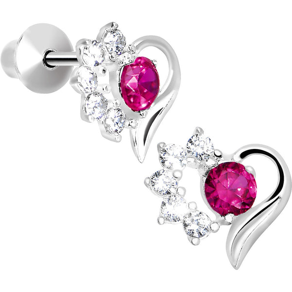 .925 Sterling Silver Pink CZ Flower Heart Youth Screwback Earrings