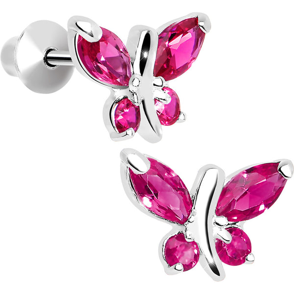 .925 Sterling Silver Pink CZ Butterfly Youth Screwback Earrings