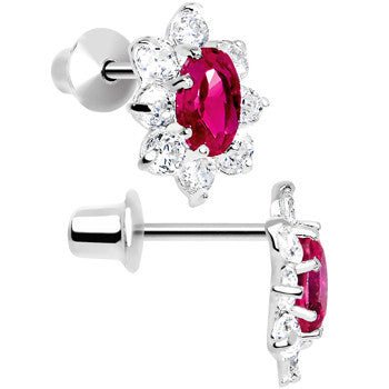 .925 Sterling Silver Pink CZ Fancy Flower Youth Screwback Earrings