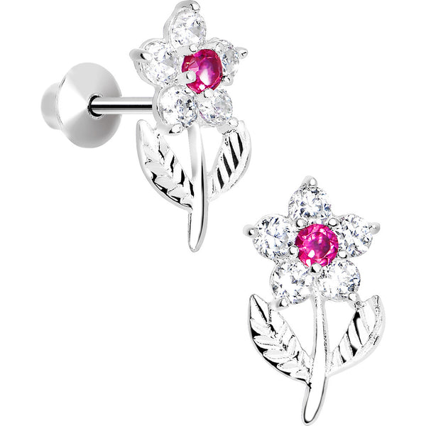 .925 Sterling Silver Pink CZ Whole Flower Youth Screwback Earrings