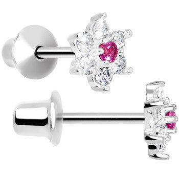 .925 Sterling Silver Pink CZ Petite Flower Youth Screwback Earrings
