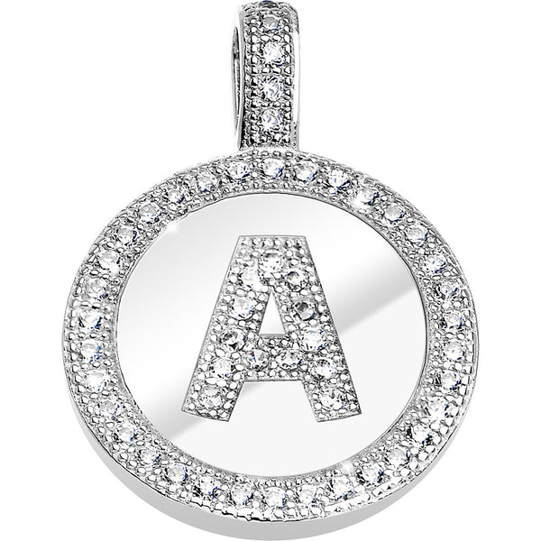 .925 Sterling Silver Clear CZ Paved Letter A Initial Pendant