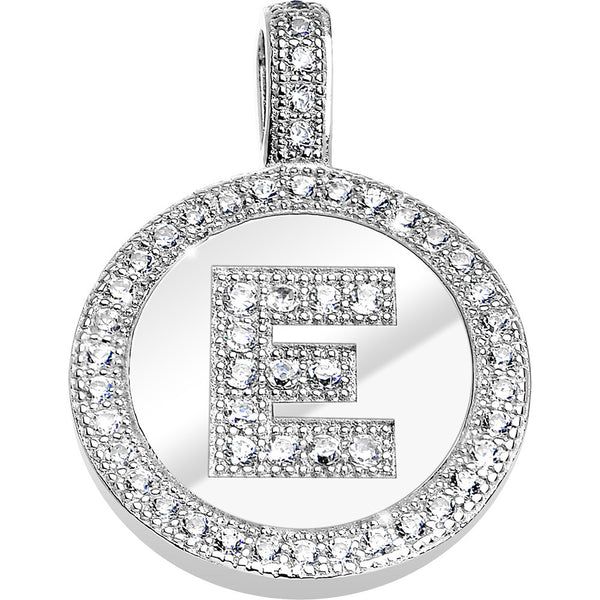 .925 Sterling Silver Clear CZ Paved Letter E Initial Pendant