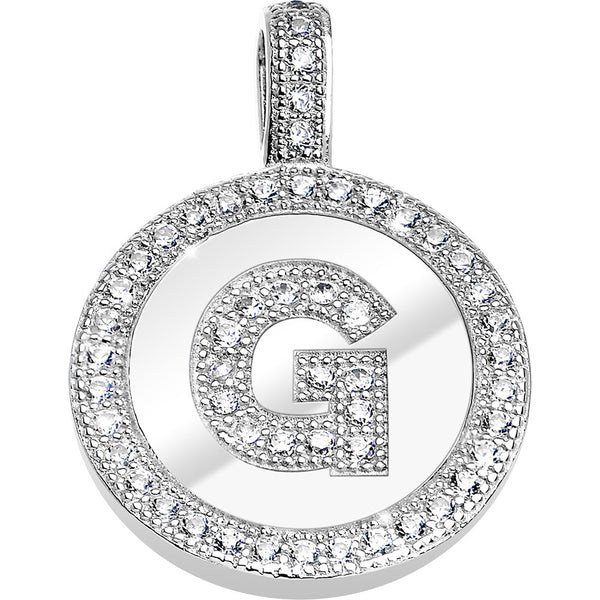 .925 Sterling Silver Clear CZ Paved Letter G Initial Pendant