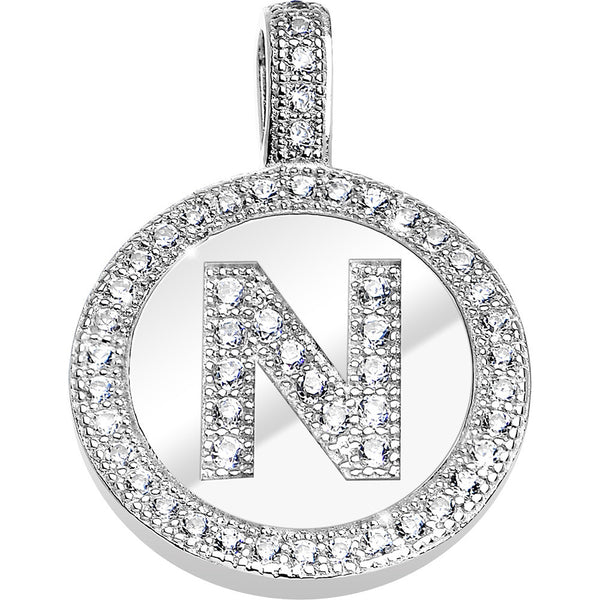 .925 Sterling Silver Clear CZ Paved Letter N Initial Pendant