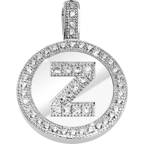 .925 Sterling Silver Clear CZ Paved Letter Z Initial Pendant