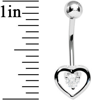 925 Sterling Silver Cubic Zirconia Hollow Heart Belly Ring