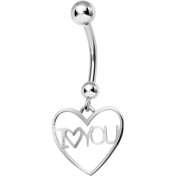 925 Sterling Silver I Love You Heart Dangle Belly Ring