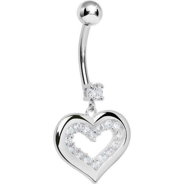 925 Sterling Silver Cubic Zirconia Encased Heart Dangle Belly Ring