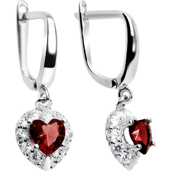 925 Silver CZ Heart January Birthstone Leverback Youth Earrings