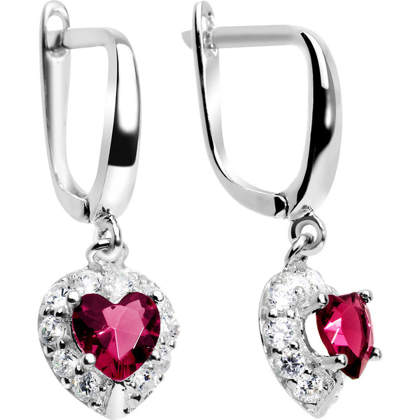 925 Silver CZ Heart July Birthstone Leverback Youth Earrings